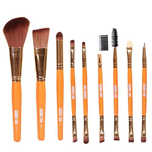 Tongshi 9 PC Pro cepillos cosméticos del maquillaje de sombra de ojos sombra de ojos Brocha Fundación (naranja)