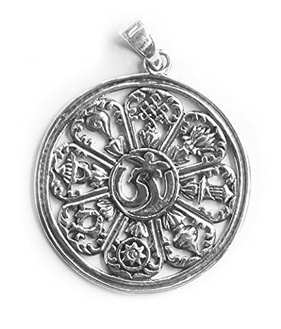 Anhänger / Amulett Wheel of Life / Lebensrad und OM, 925 Sterling Silber - Esoterik - Meditation - Yoga - Spiritualität - Astrologie - Horoskop - Sternzeichen