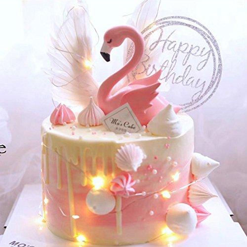 Topper per torta rosa fenicottero decorazione per festa di nozze forniture fai da te decorazione della casa decorazione della torta di compleanno di san valentino, supporto