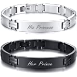 MEALGUET Personalized Stainless Steel Black Silver Couple Link Bracelets Set His Hers Wristband Love Engraved Bracelets for L
