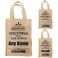 Personalised Christmas Sack Jute Tote Vintage Hessian Xmas Gift Bag Stocking
