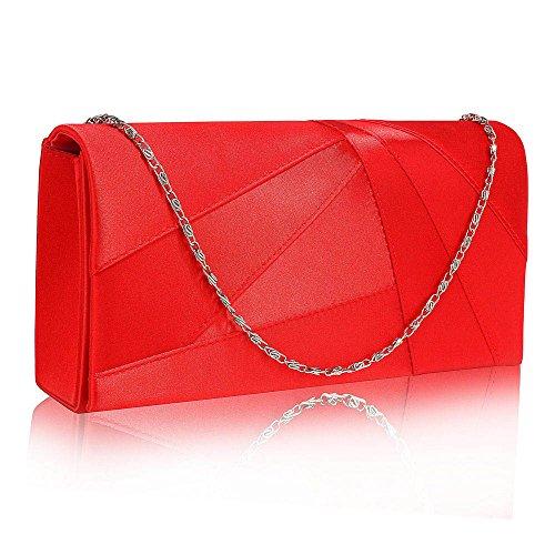 TrendStar Frauen Stilvoll Prom Party Hochzeit Taschen Damen Abend Kupplung Handtasche Satin (B - Rot) (Satin-abend-tasche Rote)