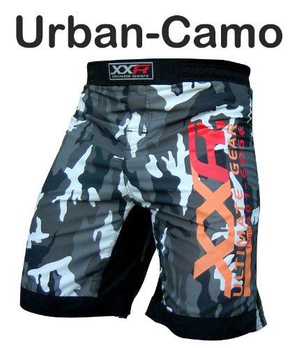 XXR Camo Pro MMA Fight Shorts Camouflage UFC für Cage Fight Grappling Muay Thai Boxen Kickboxen Armee Farbe zwei Optionen Camouflage Grün oder Urban Camouflage, Urban-Camo (Muay Thai Shorts Camo)