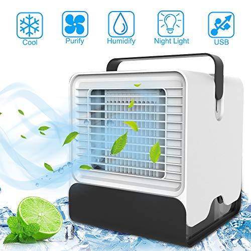 Mini Luftkühler, Nasharia 3 in 1 USB Tragbare Luftkühler Air Cooler, Mobile Klimaanlage, leiser Tischventilator, Luftbefeuchter Luftreiniger LED-Lichtkonvertierungsmodi für Home Office Auto im Freien