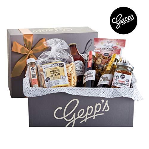 Gepp's Feinkost Bella Italia Geschenkbox | Geschenkkorb gefüllt mit italienischen Delikatessen, hergestellt nach eigener Rezeptur | Köstliches Gourmet-Geschenk für Männer und Frauen