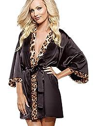 Mesdames 3 pièce Lingerie léopard/imprimé animal et noir Kimono / Nuisette - Kimono Ceinture et String Set Taille 36-38