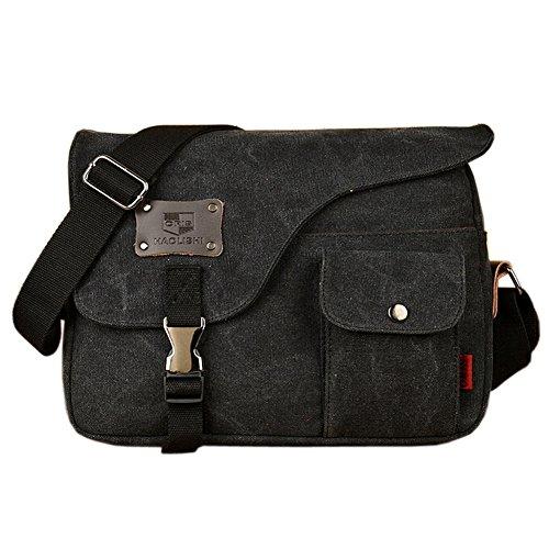 Owbb Retro Herren Boy Leinwand Umhängetasche Rucksack Größe:31*23*7cm (BDJM-04) +2 gratis geschenke