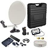 PremiumX Camping Satelliten Koffer Mobil Digital Sat Finder Single LNB 10m Koaxial Kabel Mini HDTV Satelliten Receiver