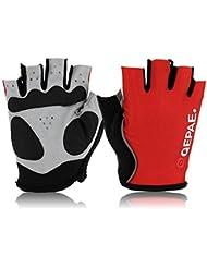 iParaAiluRy ciclo de la bici al aire libre Deportes de bicicletas antideslizante respirable de los guantes de medio dedo, color: rojo, Tamaño: XL