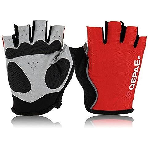 iParaAiluRy ciclo de la bici al aire libre Deportes de bicicletas antideslizante respirable de los guantes de medio dedo, color: rojo, Talla L