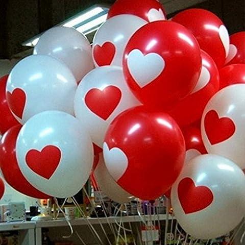 Pinzhi - 20pcs Ballons Gonflable Rond avec Coeur Déco pour Anniversaire Fête Mariage