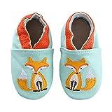 koshine Weiches Leder Krabbelschuhe Baby Schuhe Kinder Lauflernschuhe Hausschuhe 0-3 Jahre (18-24 Monate, Fuchs)