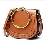 T-FBW Damen Umhängetasche Handtaschen - Damentaschen Einfache Rindsleder Taschen Metallring Taschen Damen Satteltaschen Schulter Messenger Bags Taschen (Farbe : Orange)