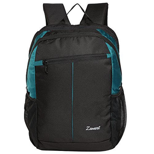 Zwart 20Ltrs Black And Sea Green Laptop Backpack