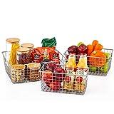 EZOWare Cestello Cucina, Set di 3 Multiuso Cesto portaoggetti in Filo Metallico da organizzare con Manici Ideale per Bagno e Cucina - Argento