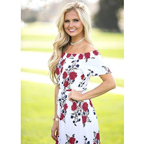 ZhuXin Sommer-Strand-Kleid, Blumen Blumen Print Tunika Kleid trägerlosen Chiffon breiten Boot Ausschnitt Maxi Kleider für Frauen (Size : S) (Trägerlosen Chiffon-cocktail-kleid)