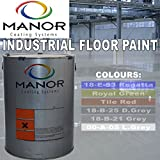 Manor Beschichtungen 5 Liter Profi Beton Industrielle Bodenfarbe Single Pack strapazierfähig Innen Paint Hochglanz Showroom Finish 18-e-53/18-b-25/Royal grün/Fliesen Rot/00-a-05/18-b-21 grau blau