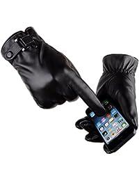 Herren PU Lederhandschuhe Schwarz Touchscreen Handschuhe mit langen Wildlederfutter für den Winter