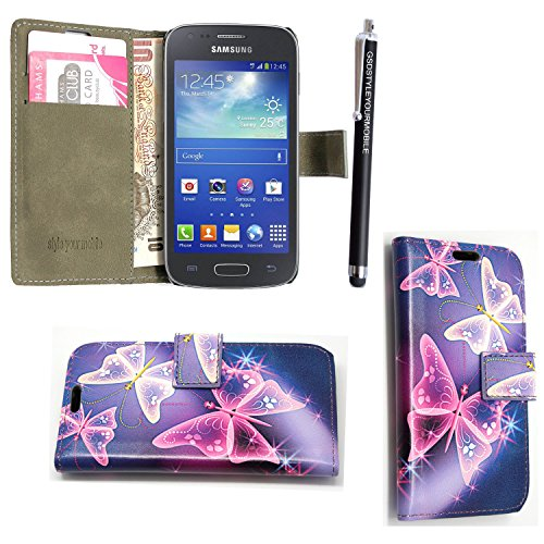GSDSTYLEYOURMOBILE {TM} Samsung Galaxy Ace Style SM-G310 PU LEDER LEATHER FLIP CASE COVER HÜLLE ETUI TASCHE SCHALE + STYLUS (Blue Butterfly Book)