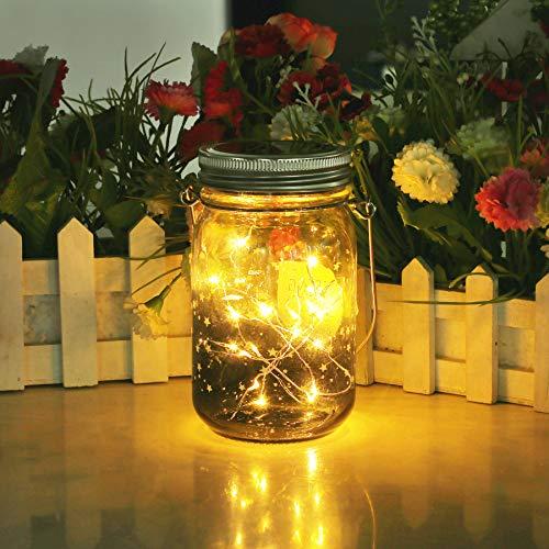 Solar Gartenleuchte - Solarlampen für Außen,Gartenlicht Solar,Jar Licht,Led Lichterkette Solar Außen,Deko Weihnachten Innen/Außen Lichterketten für Zimmer,Terrasse, Weihnachtsbaum,Hochzeit (Warmes)