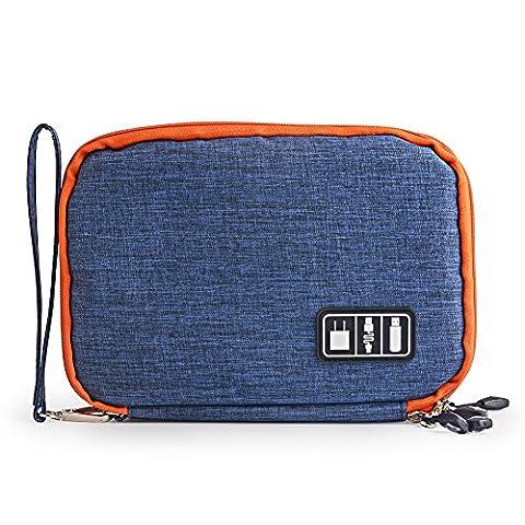 Zuoao Universal Organiser Tragbar Veranstalter Reise Tragen Fall Case Reisetasche Organisator Tasche mit Doppelschichte für Elektronikzubehör, iPad Mini,USB Kabel ,Speicherkarten (Blau)
