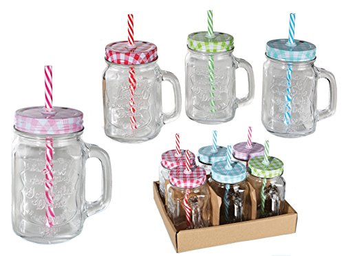 6 x Trinkgläser Einmachglas mit Henkel, Deckel und Strohhalm, 400ml Mason Jar