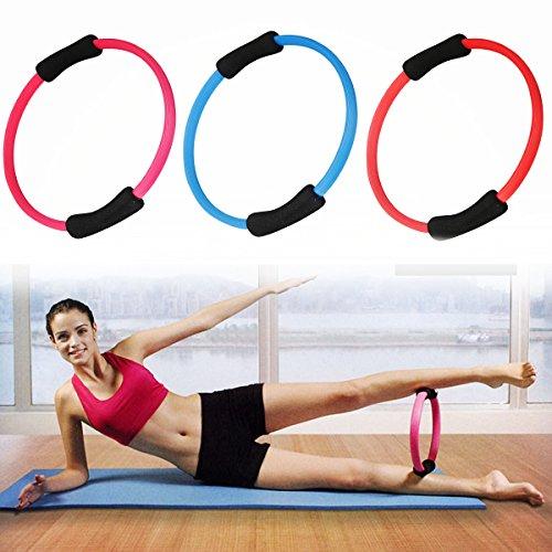 Pilates Ring, LuckyFine Yoga Pilates Ring Kreis, -Übungen und Kräftigung der Oberkörper- und Beinmuskulatur, Gymnastikreifen aus Glasfaser und schäumen rosa