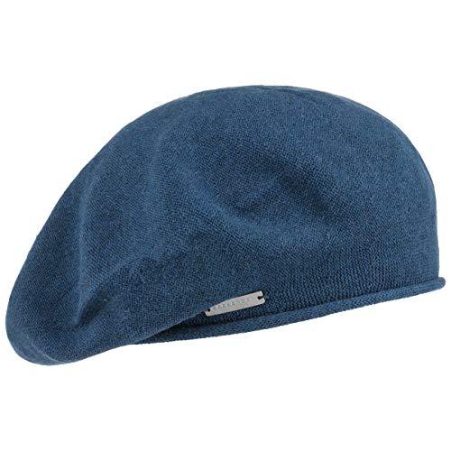Seeberger Seeberger Rollrand Baskenmütze Damenmütze Sommermütze Mütze Baske Damenbaske Damenbaske Sommermütze (One Size - blau)
