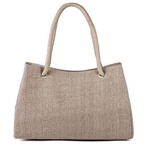 Tibes Borse riutilizzabili per la spesa Tote bag Borse da spiaggia Pochette e clutch donna Khaki