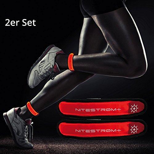 ZNEX LED Armband Leuchtarmband für Sport & Outdoor, 2er Set rot/rot. Hell leuchtendes LED Jogging Fahrrad Licht Warnlicht Blinklicht für hohe Sichtbarkeit im Dunkeln - Rote Led-licht-set