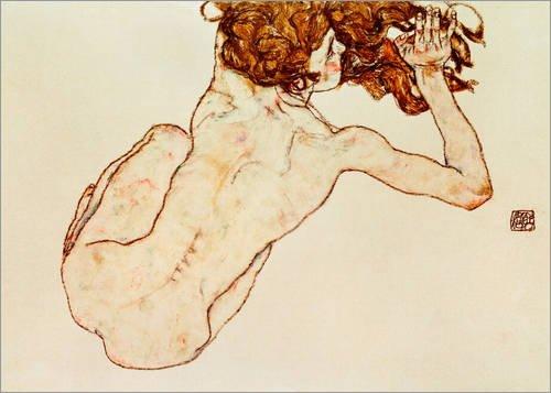Poster 40 x 30 cm: Kauernder Rückenakt von Egon Schiele / akg-images - hochwertiger Kunstdruck, neues Kunstposter