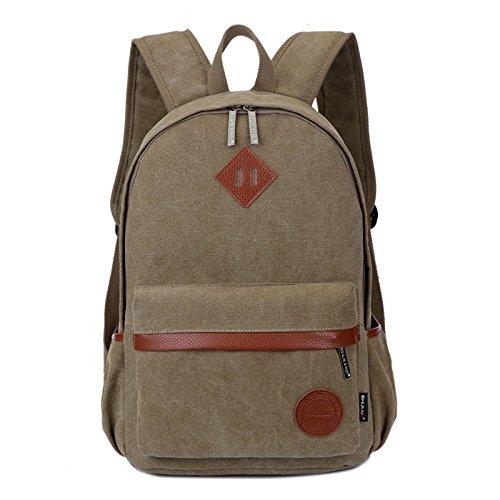 Männermode doppel Schultertasche Trend einfach Sportlicher Rucksack Studenten Taschen, deep khaki Tuch Farbe