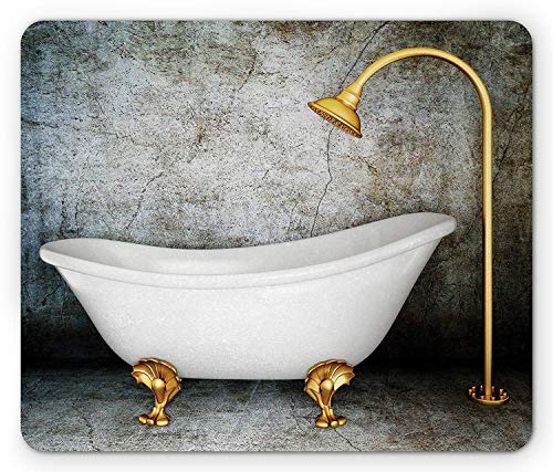 Retro Mouse Pad, Vintage Bathtub in Room with Grunge Wall Lifestyle Resting Spa Theme Art, Standard Size Rectangle Non-Slip Rubber Mousepad, Grey White Earth Yellow -