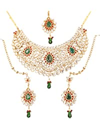 Touchstone Indian Mughal Kundan Look Fuchsia Pink Alloy Metal Gold Tone Bridal Necklace Set For Women