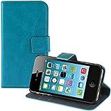 kwmobile Wallet Case Hülle für Apple iPhone 4 / 4S - Cover Flip Tasche mit Kartenfach und Ständerfunktion in Türkis