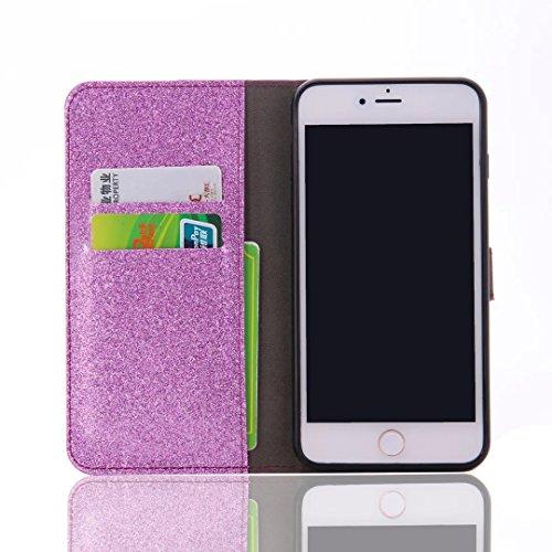 "Für iPhone 6 Plus/6S Plus 5.5"" LederHülle,iPhone 6 Plus/6S Plus 5.5"" Schutzhülle Handyhülle, SKYXD Bling Bling Tasche Glitter Sparkle Glänzend Bookstyle Cover Brieftasche Premium PU Case Protective Si Lila"