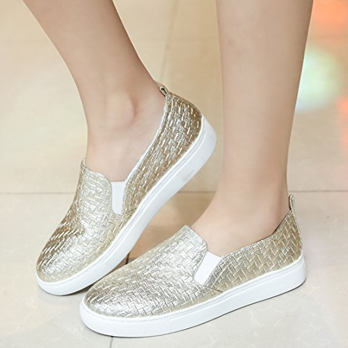 AIYOUMEI Damen Plateau Flach Sneakers Flach Slippers Slip-on Bequem Sommer Schuhe Gold