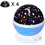 Iyowin Nueva Generación de 360 Grados de Rotación Modo de Luz del Proyector de la Estrella Romántica Fantasía Cosmos Luna del cielo de la Lámpara de Proyección de Luz Nocturna Dormitorio para Niños, bebés, Regalos de la Navidad, los Amantes del USB / Powered Batería (Azul) [Clase de Eficiencia Energética A+++] (Azul)