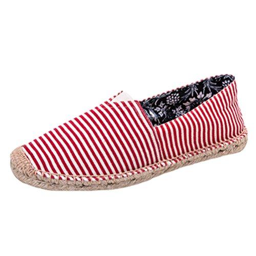 Vogstyle Espadrilles Unisex en Toile Cousue Chaussure de Marche Semelle Caoutchouc Mode Corde Tressée Style 6 Rouge