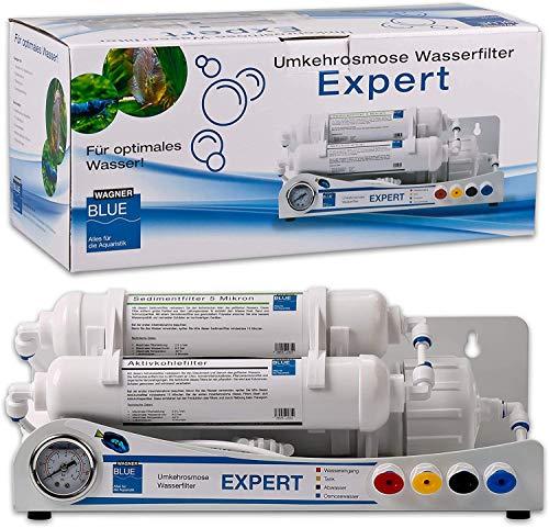 WAGNER Blue Umkehrosmose Wasserfilter EXPERT | 3 stufige Osmoseanlage für Aquarium | Professioneller Wasserfilter zur Herstellung von Osmosewasser (100 GPD)