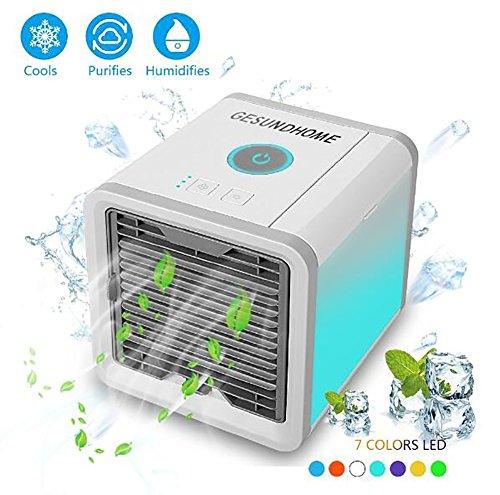 Luftkühler USB Klimagerät 3 In 1 Luftbefeuchter Und Luftreiniger Tragbarer Tischventilator 7 Farben LED Nachtlicht. Für Büro,Hotel,Garage Und Haus Usw
