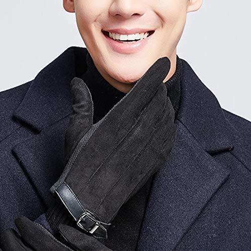 Ei guanti in pelle scamosciata guanti invernali da uomo in velluto e caldo guanti touch screen guanti corti in versione invernale guanti da corsa alpinismo guanti antivento ( color : dy08 black )