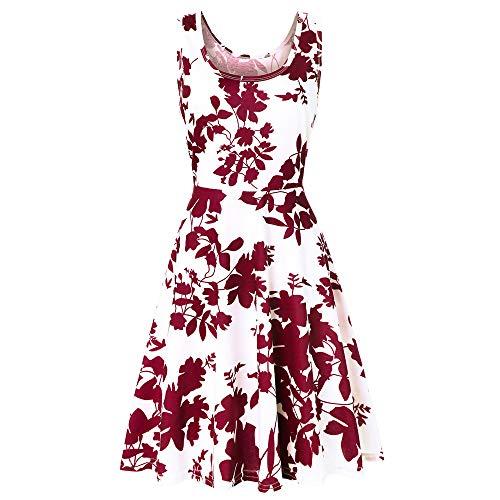 XuxMim Damen Elegant Cocktailkleid Brautjungfernkleid Spitzenkleid Festliches Kleid Hochzeit Partykleid(Rot,X-Large)