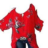 BHYDRY Mode Frauen Plus Größe O-Neck Bandage trägerlosen Top Blumendruck Bluse T-Shirt(4XL.Rot)