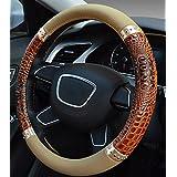 XuanMax Universal Cocodrilo Funda de Volante Coche Cuero Microfibra Piel Respirable Vehiculo Cubierta del Volante Envoltura Protectora Antideslizante Auto Steering Wheel Cover 38cm - Marron
