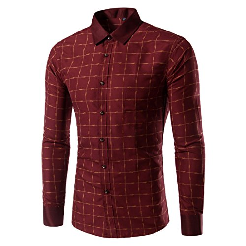 Men's Chemise Homme Plaid Slim Fit Casual Shirts red