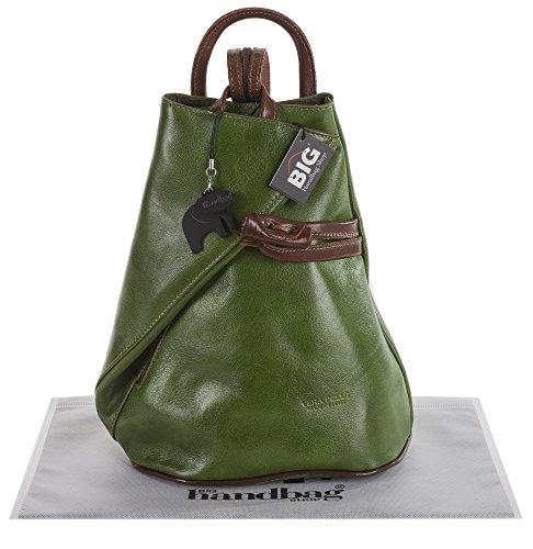 BHBS Femmes Véritable Cuir Italien Façon Exceptionnel Sangle Aménageable Sac à Dos Sac à Main 25x32.5x13.5 cm (LxHxP) Green & Brown