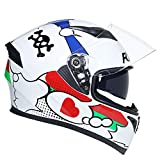 1-1 Double Sun Visors Motorbike Helmets Adult Men Women Off-Road Modular Flip-Up Full-Face Cycling Anti-UV Anti-Fog Anti-Fall Racing Mountain Motorcycle Safety Protective Gear,White,L