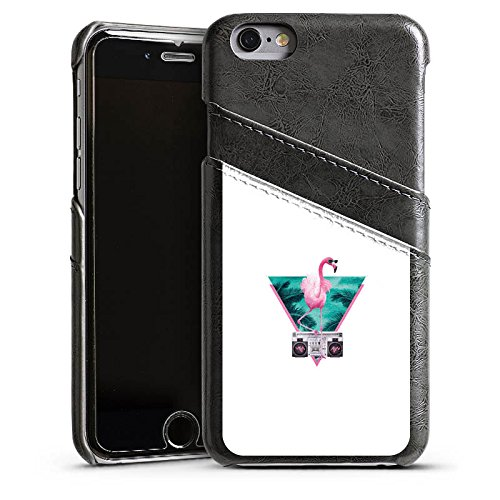 Apple iPhone 5s Housse Étui Protection Coque Flamand rose Triangle Triangle Étui en cuir gris