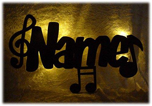 Schlummerlicht24 Led 3d Musik-Noten Deko-Lampe mit Name Geschenke Musiker Musikschule Mann Frau Junge Mädchen - Noten Musik Wandtattoo